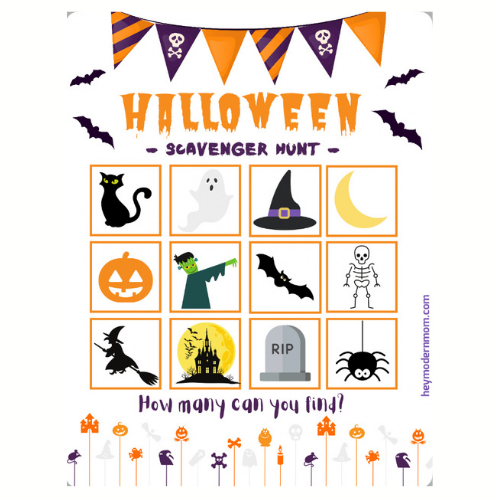 Fun FREE Halloween Scavenger Hunt Printable!