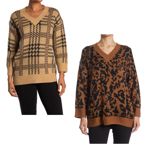 77% Off V-Neck Print Knit Pullover Sweaters for Women
