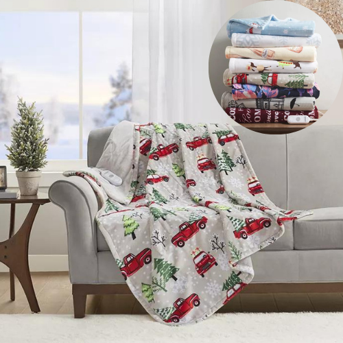 $70 Off Premier Comfort Novelty Printed Heated Plush Throws at Macy's