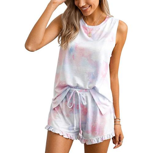 $20 OFF Women's Tie Dye Printed Ruffle Pajama Sets on Amazon