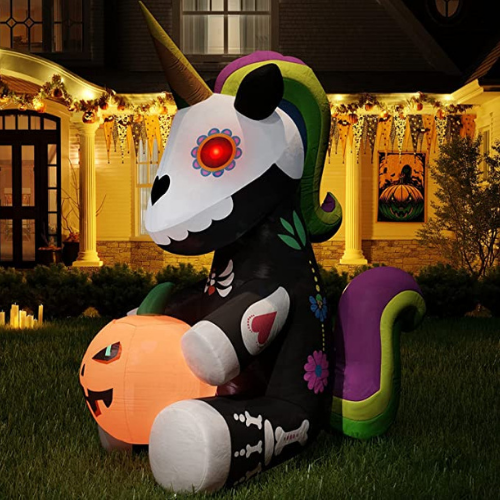Extra 50% Off Inflatable Halloween Skeleton Unicorn Decoration
